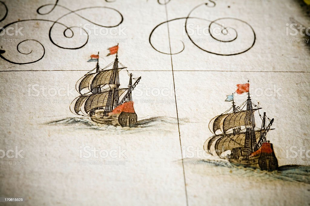 chasing ships vector art illustration