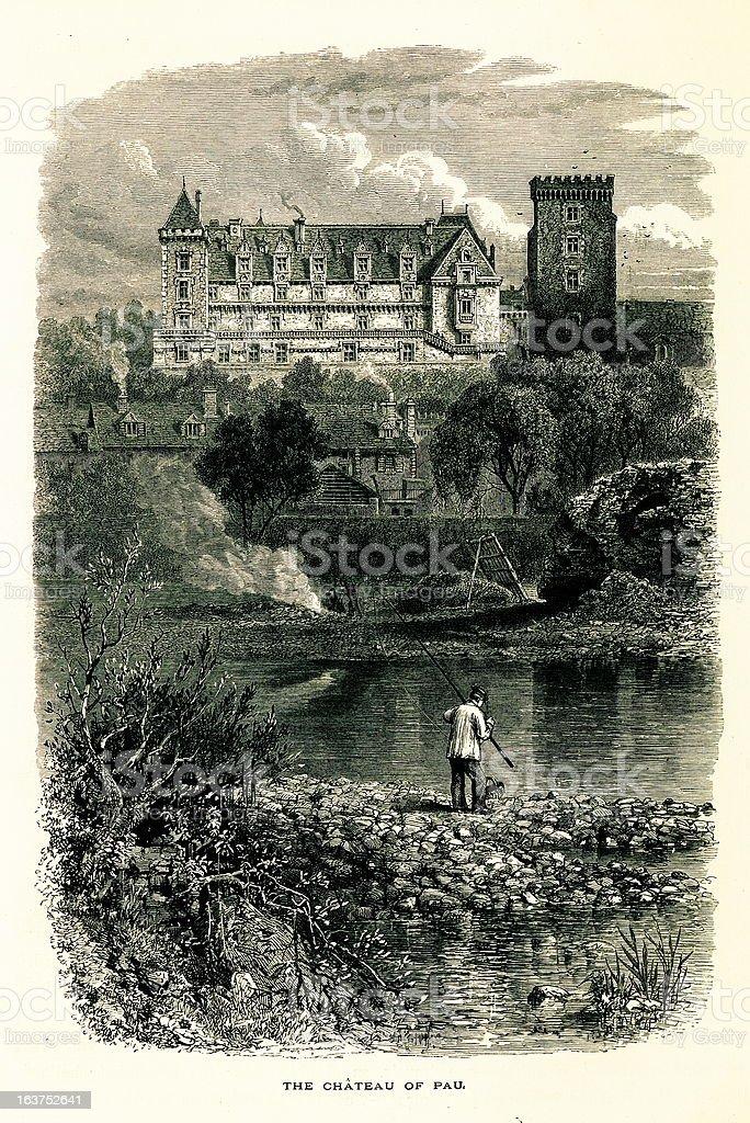 Chateau de Pau, France I Antique European Illustrations royalty-free stock vector art