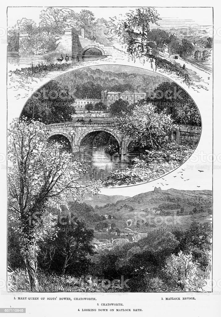 Chatsworth House in Derbyshire, England Victorian Engraving, 1840 vector art illustration