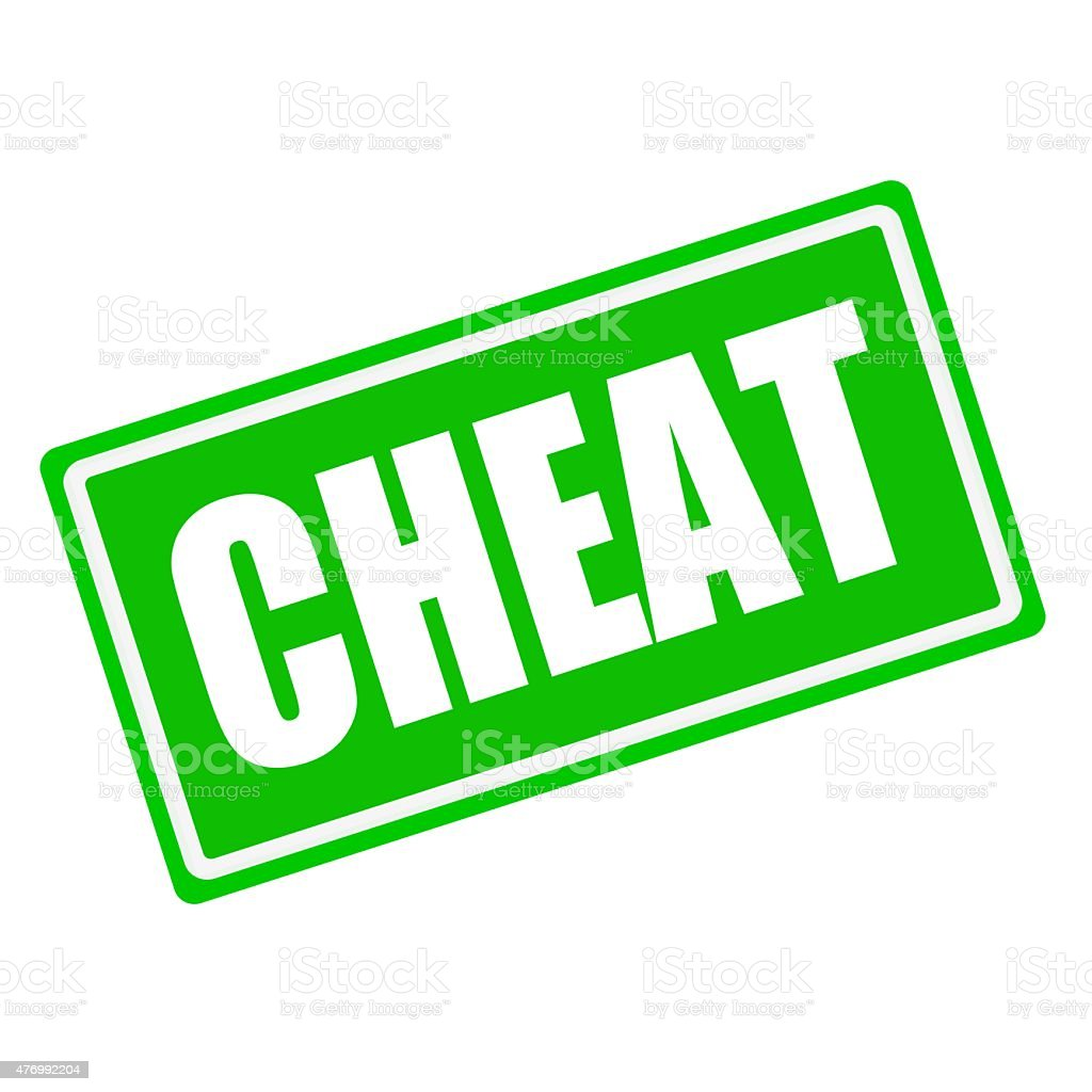 Cheat white stamp text on green background vector art illustration