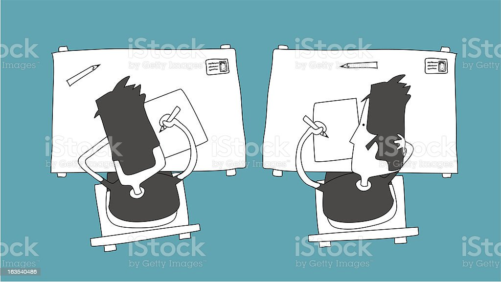 Cheating on the test royalty-free stock vector art