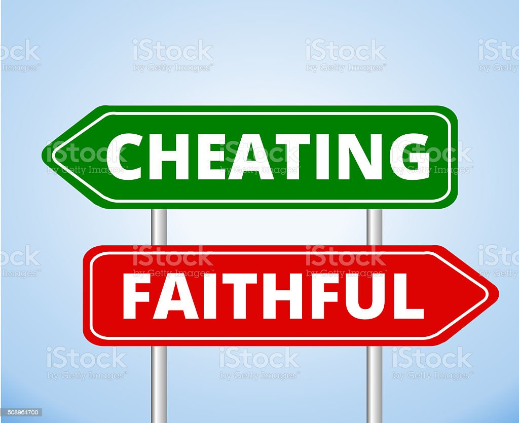 Cheating vs Faithful Arrow Signs vector art illustration