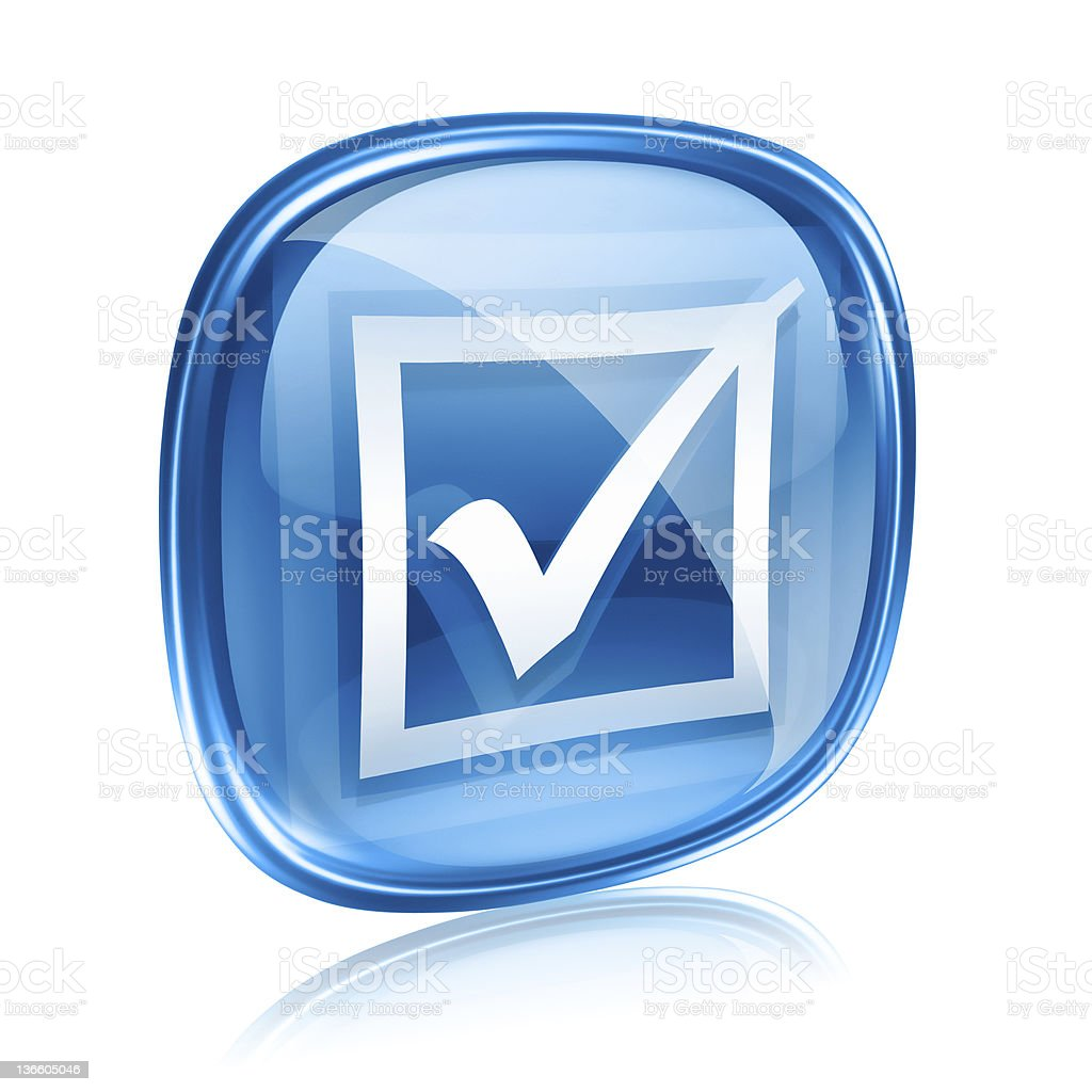 check icon blue glass, isolated on white background. royalty-free stock vector art