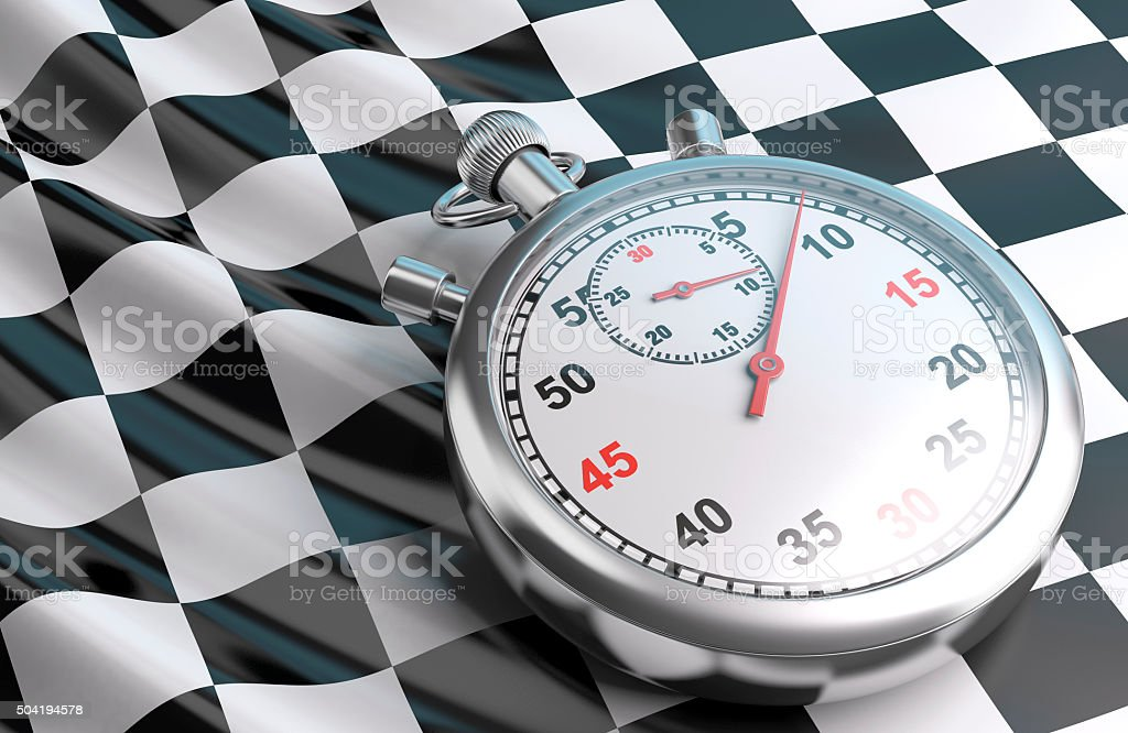 Checkered flag and stopwatch. royalty-free stock vector art