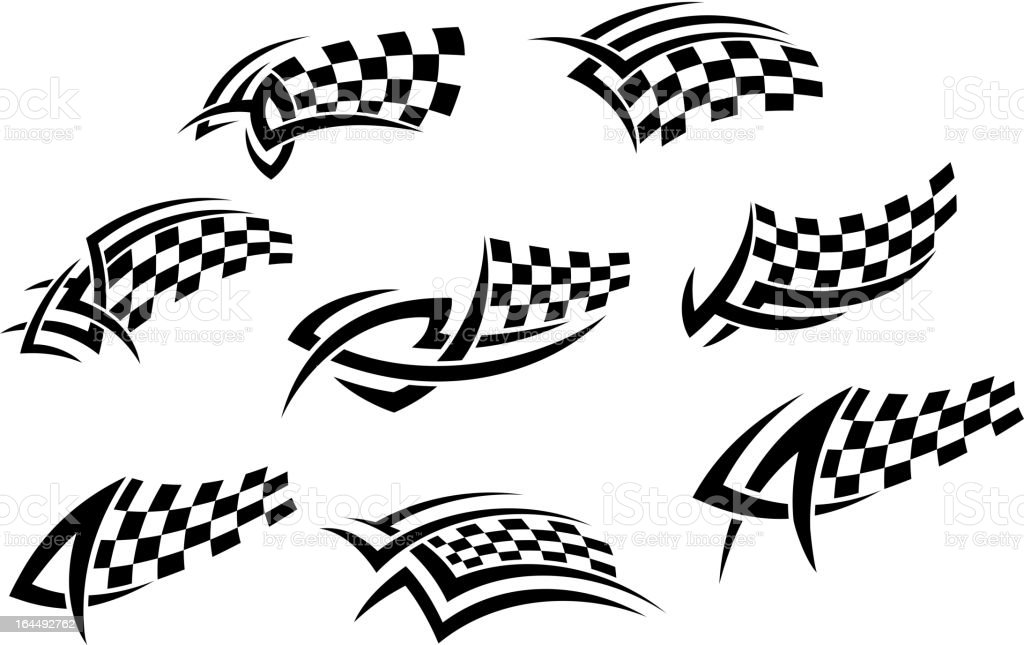 Checkered flags in tribal style vector art illustration