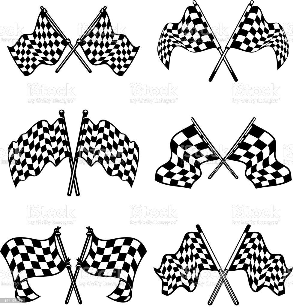 Checkered flags set royalty-free stock vector art