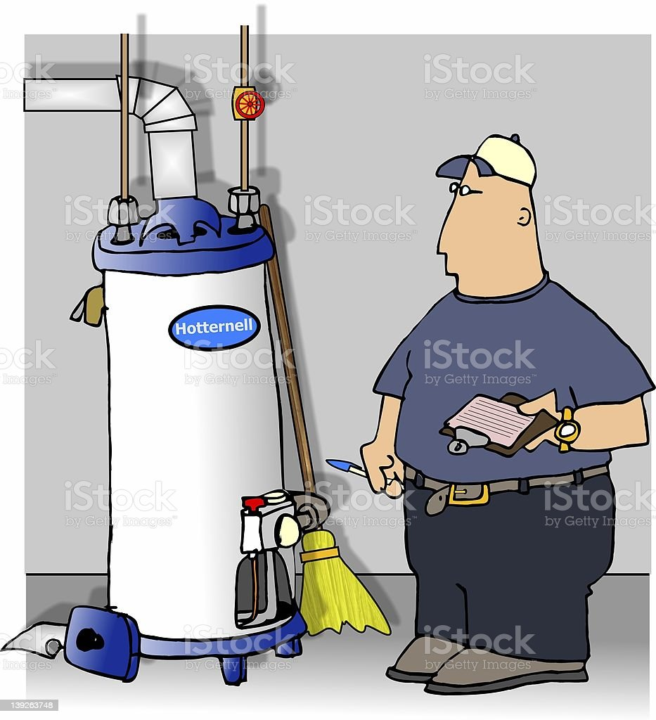 Checking the water heater royalty-free stock vector art