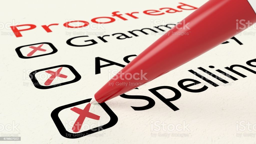 Checklist of proofreading characteristics grammar accuracy and spelling on paper crossed off by a red pen vector art illustration