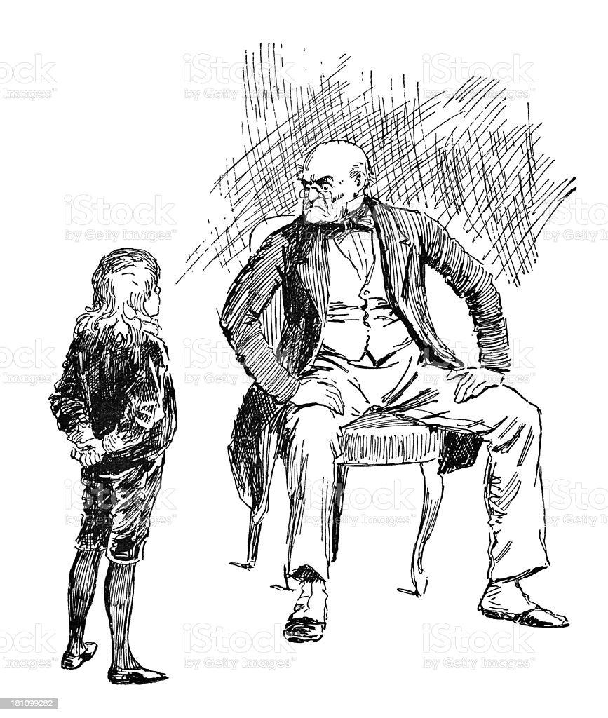 Cheeky Victorian child offending an old man vector art illustration