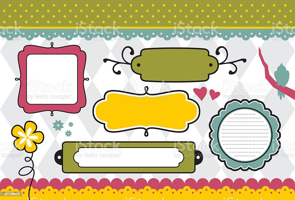 Cheerful Doodle Frames vector art illustration