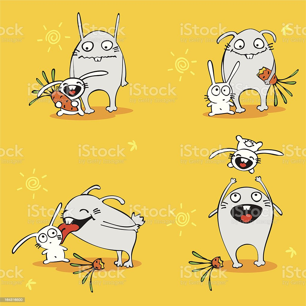 Cheerful hares with carrots royalty-free stock vector art