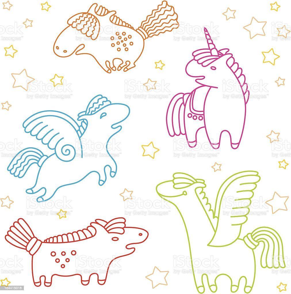 Cheerful horses - pattern royalty-free stock vector art