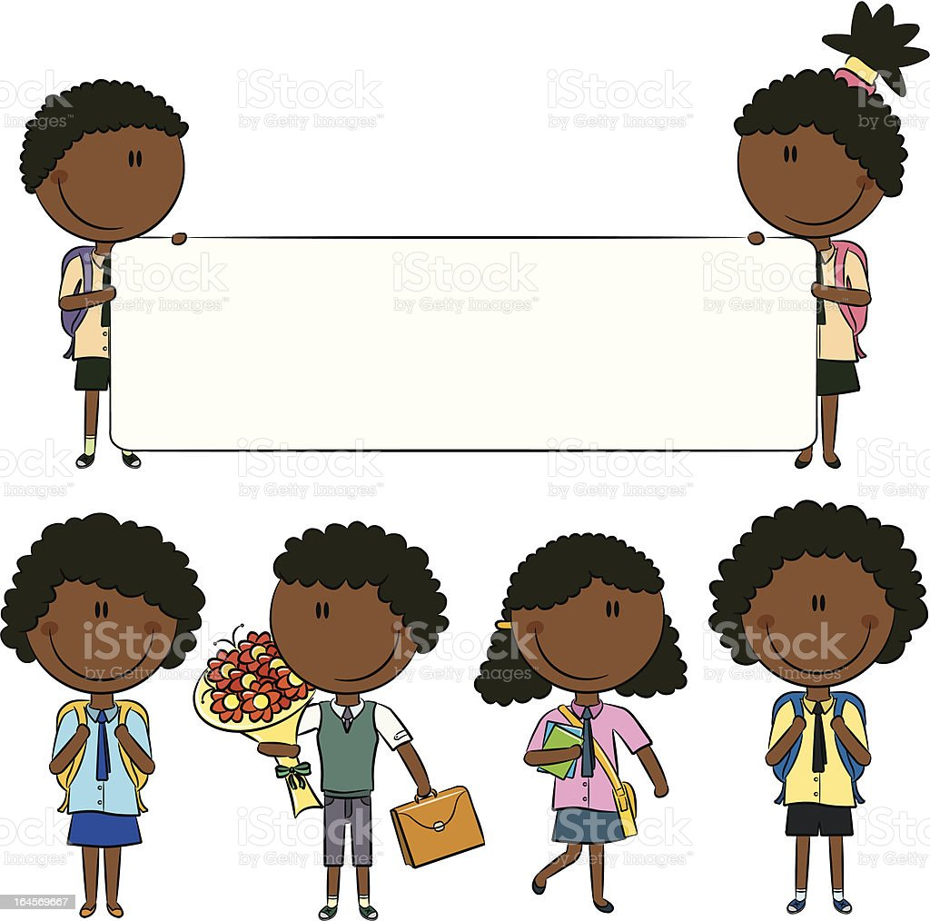 Cheerfull African-American school kids with empty banner, flowers and books royalty-free stock vector art