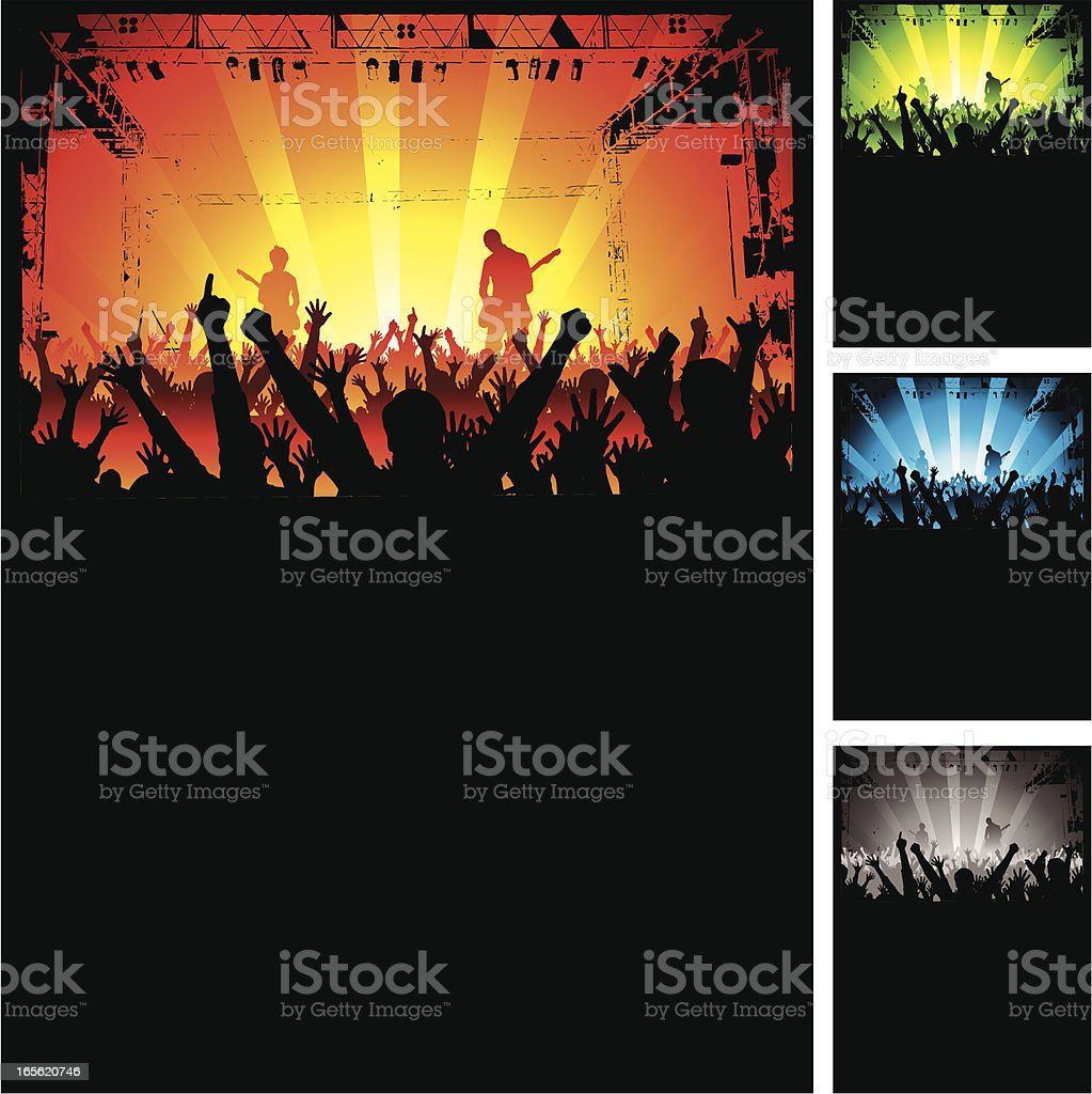 Cheering Crowd at Rock Concert vector art illustration