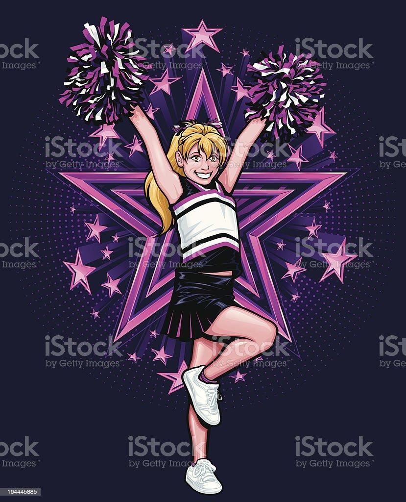 Cheerleader 'High V' Pose: Full Body Version vector art illustration