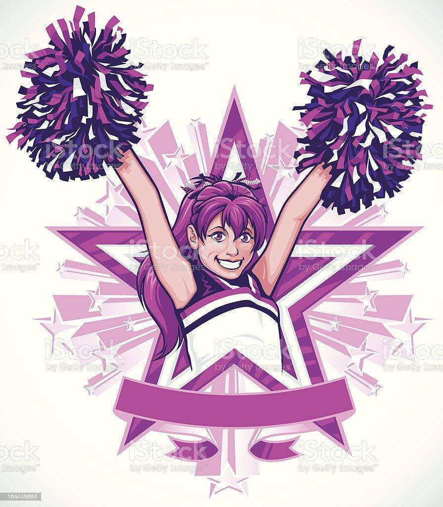 Cheerleader 'High V' Pose: Portrait Version vector art illustration