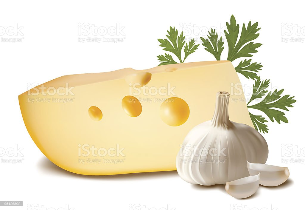 Cheese with garlic and parsley. royalty-free stock vector art