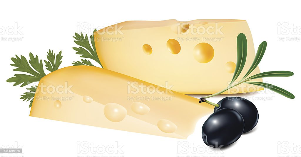Cheese with parsley and olives. royalty-free stock vector art