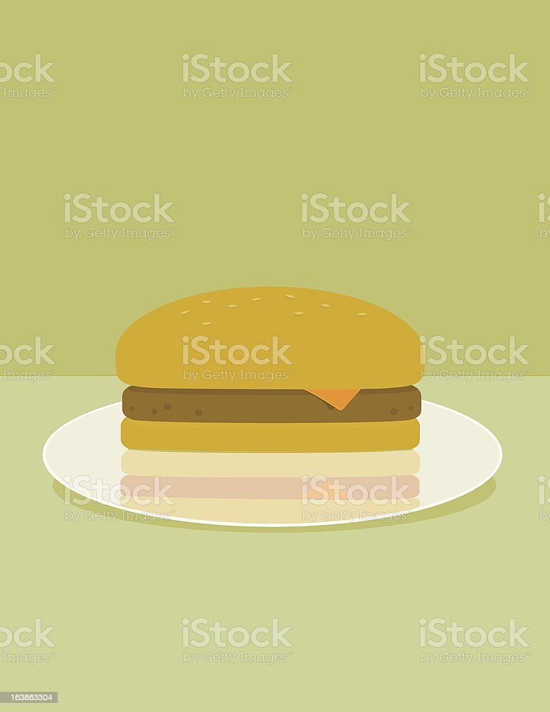 Cheeseburger on a Plate royalty-free stock vector art