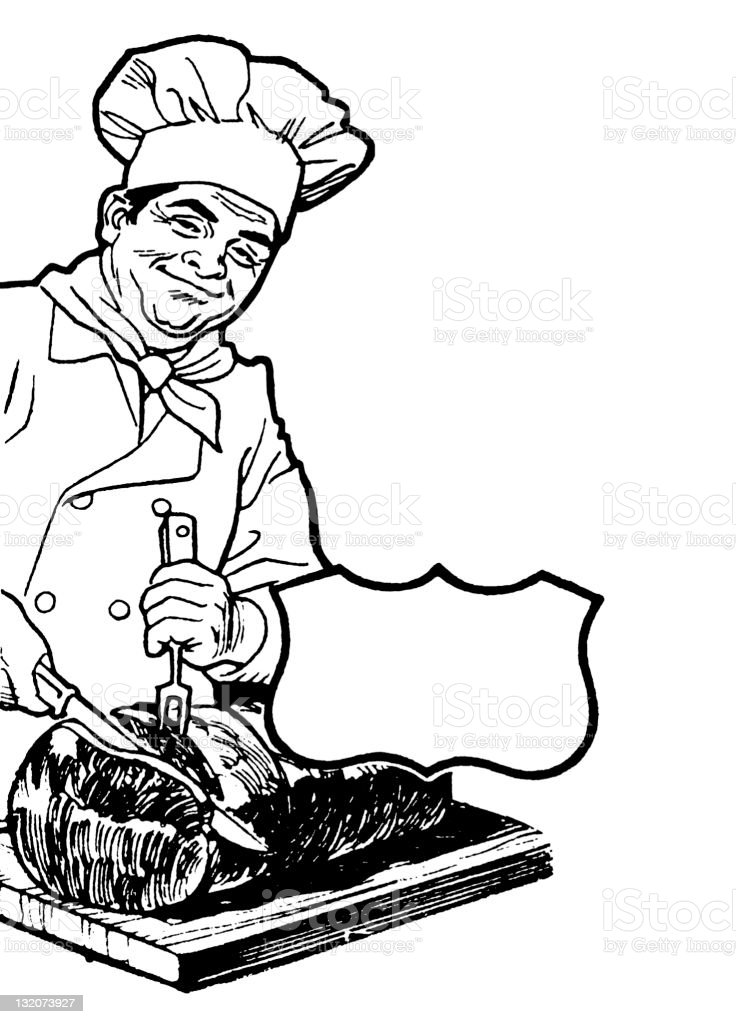 Chef Carving Meat vector art illustration