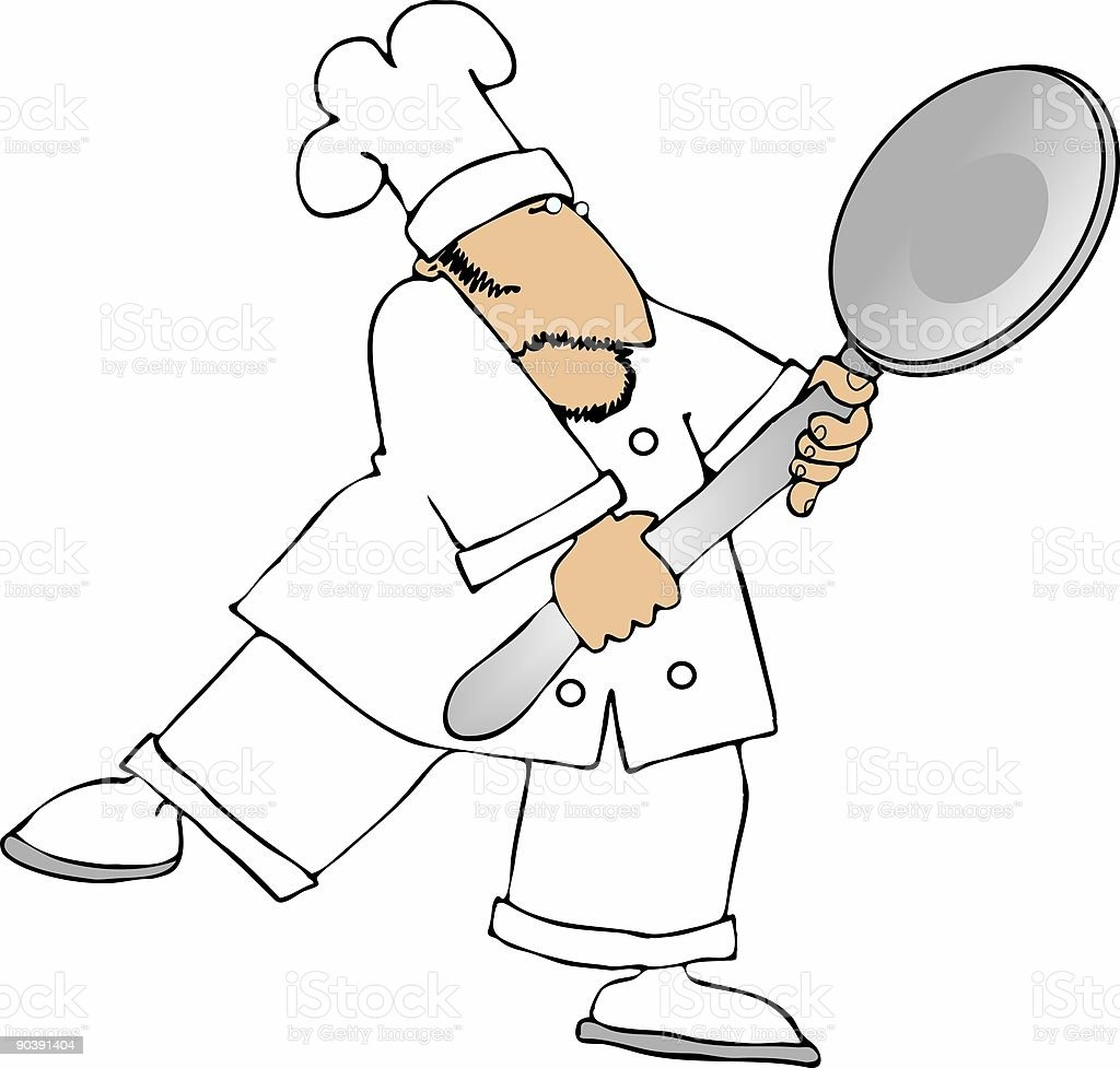 Chef holding a giant spoon royalty-free stock vector art