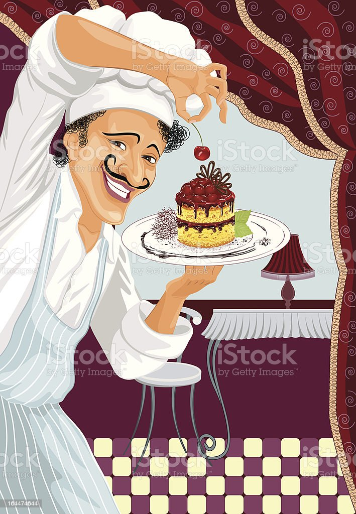 Chef with dessert royalty-free stock vector art