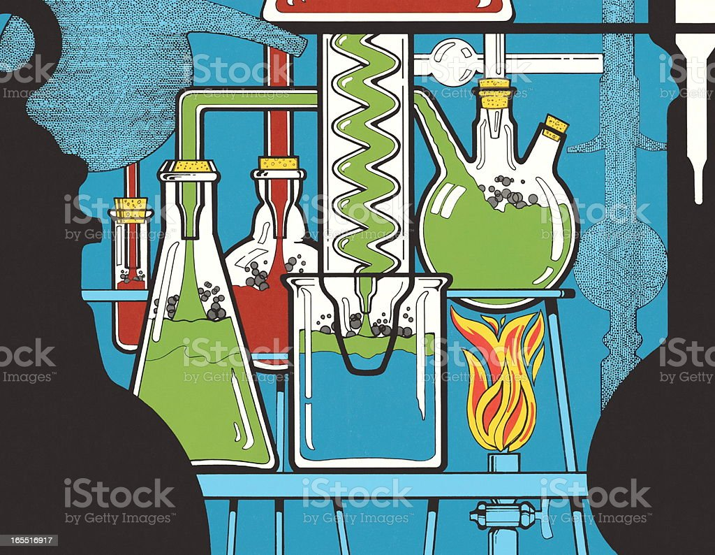 Chemical Experiment in a Lab royalty-free stock vector art