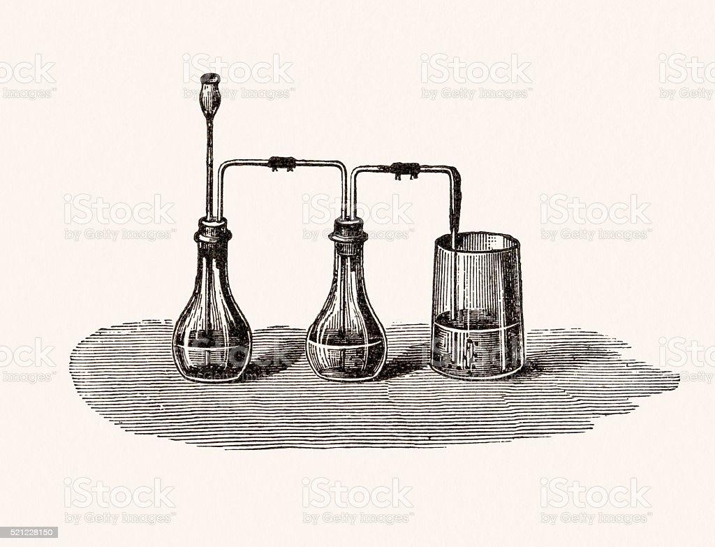 Chemistry experiment, 19th century science illustration vector art illustration