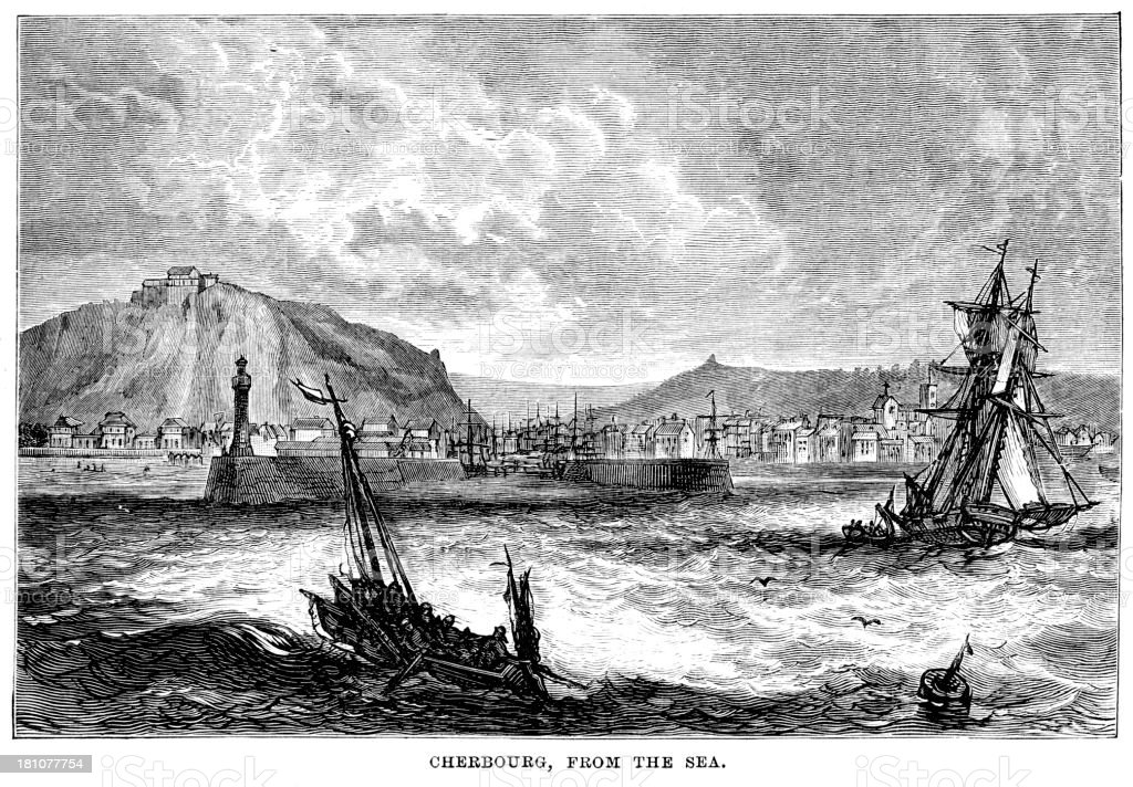 Cherbourg from the Sea royalty-free stock vector art