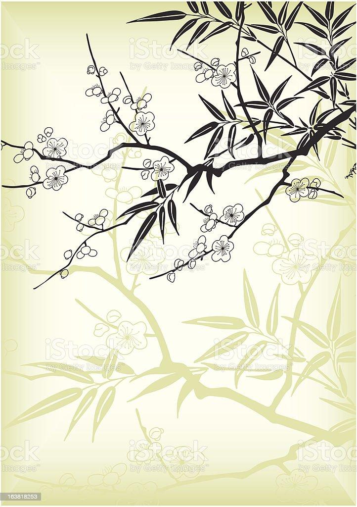 cherry blossom and bamboo vector art illustration