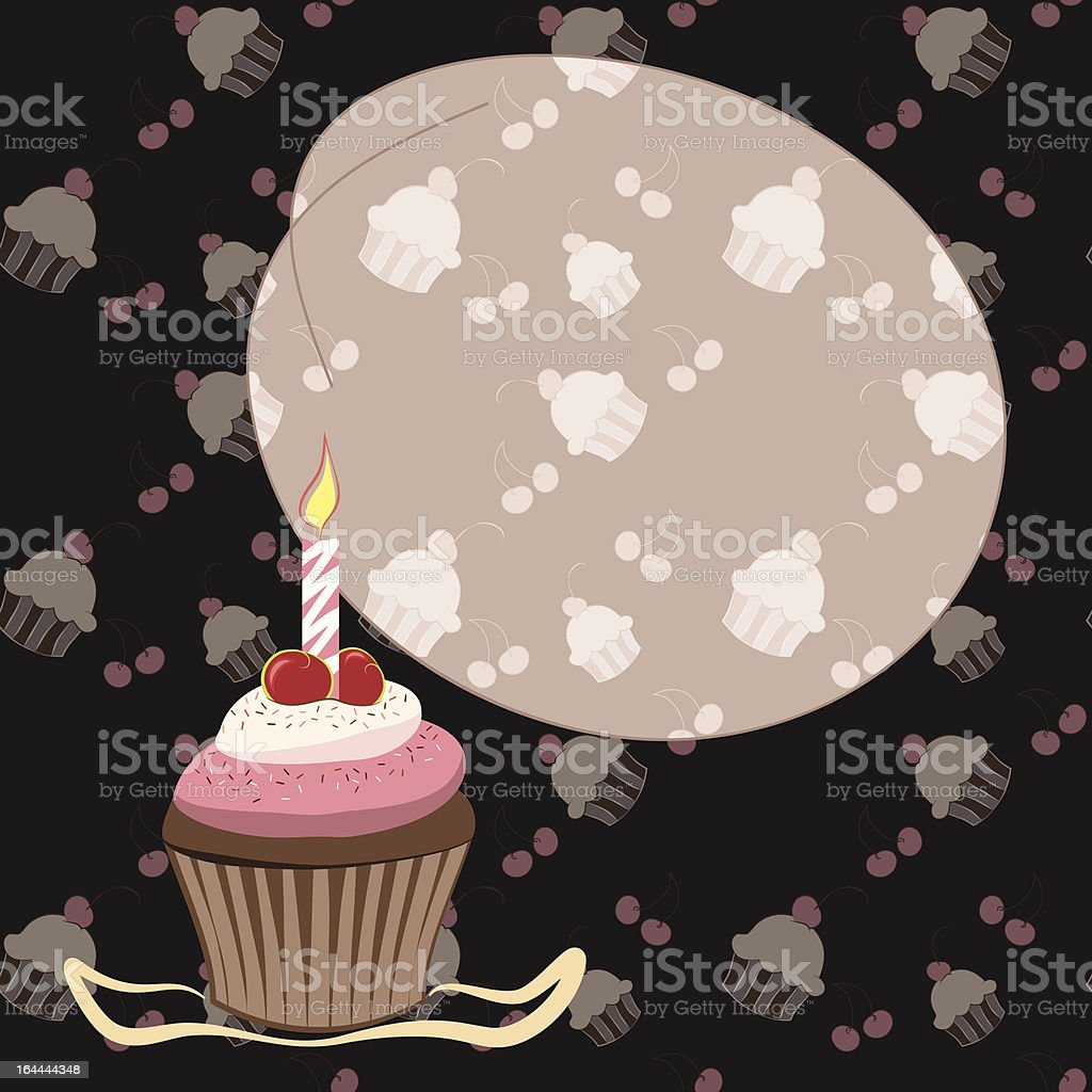 Cherry cupcake with candle royalty-free stock vector art
