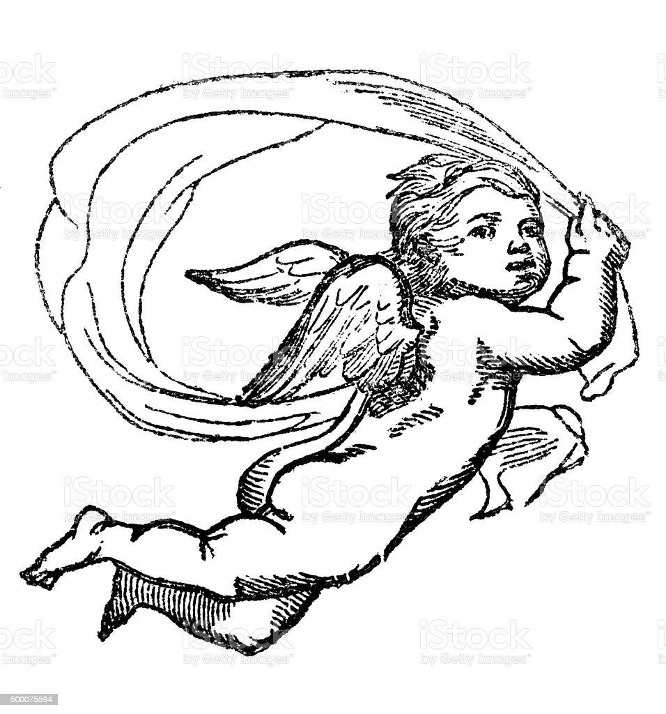 Cherub angel vector art illustration