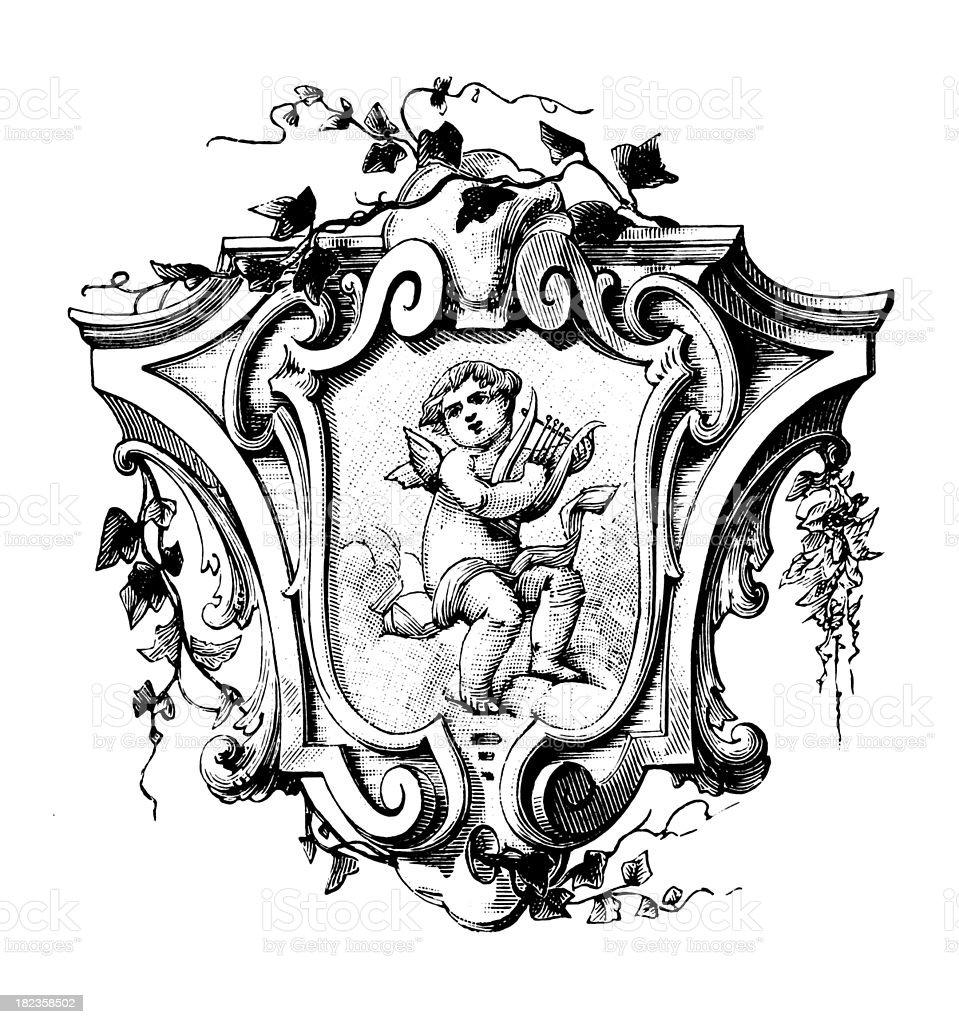 Cherub decoration | Antique Design Illustrations vector art illustration
