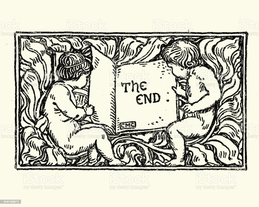 Cherubs holding a book open at the end page vector art illustration