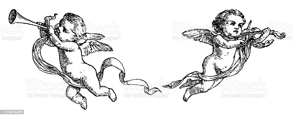 Cherubs vector art illustration