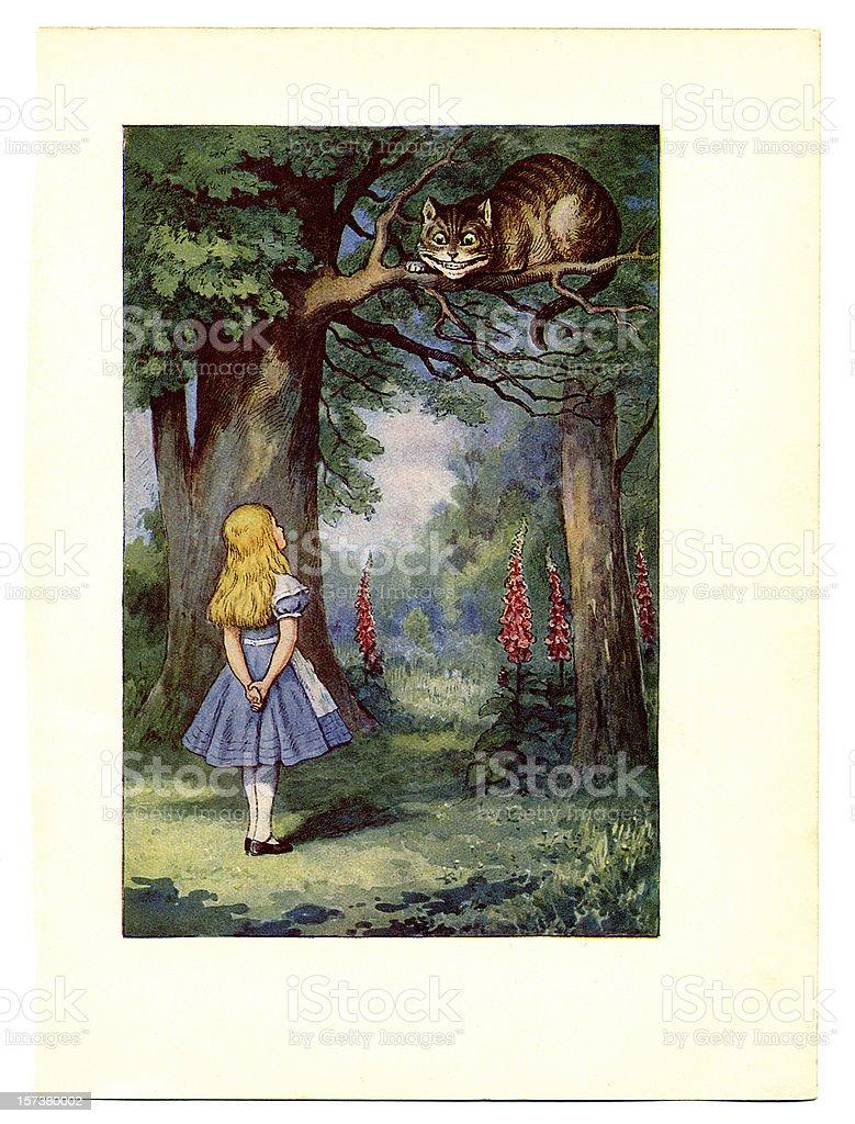 Cheshire Cat on tree illustration, (Alice's Adventures in Wonderland) royalty-free stock vector art