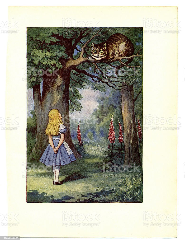 Cheshire Cat on tree illustration, (Alice's Adventures in Wonderland) vector art illustration