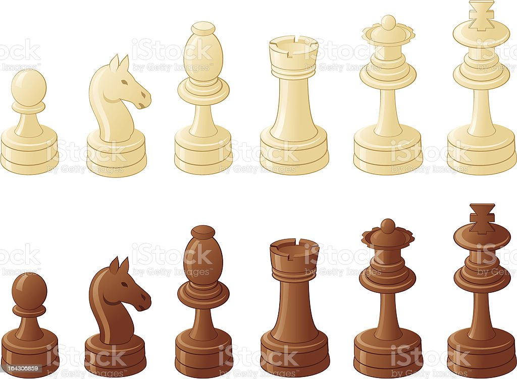Chess pieces isolated on white royalty-free stock vector art