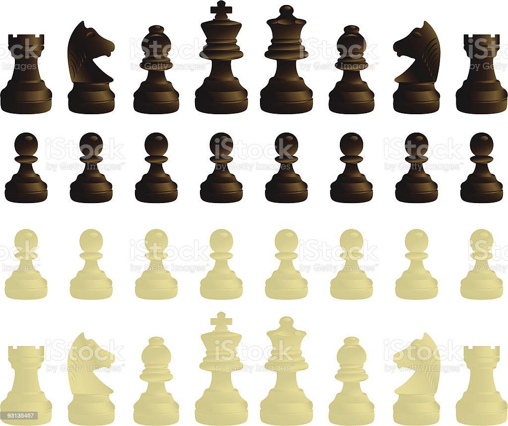 Chessmen complete set vector art illustration