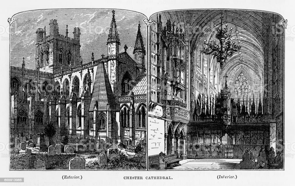 Chester Cathedral in Chester, England Victorian Engraving, 1840 vector art illustration