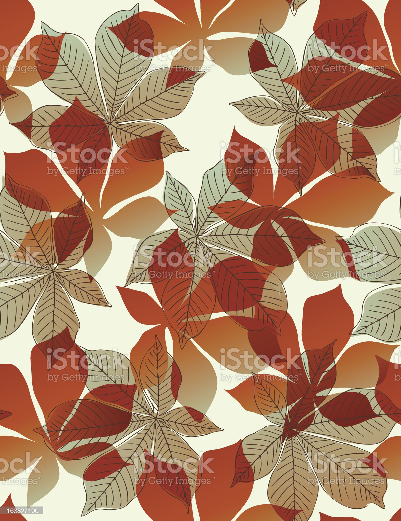 Chestnut leaves -seamless pattern royalty-free stock vector art