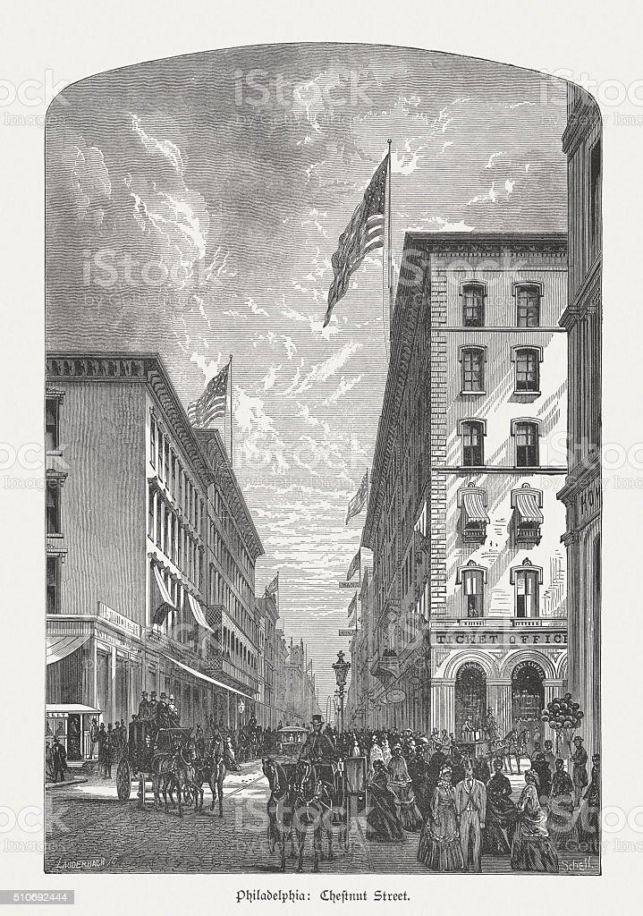 Chestnut Street in Philadelphia, wood engraving, published in 1880 vector art illustration