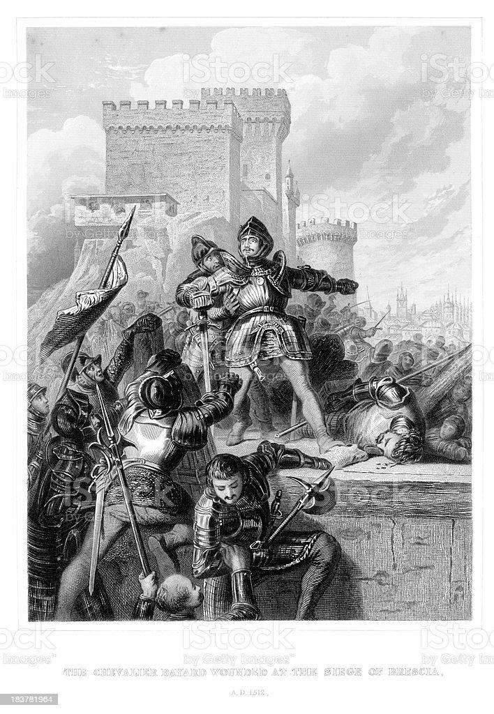 Chevalier Bayard wounded at Brescia royalty-free stock vector art