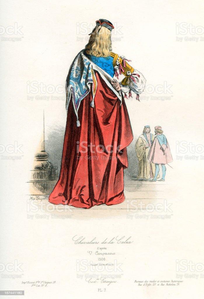 Chevalier de la Calza royalty-free stock vector art