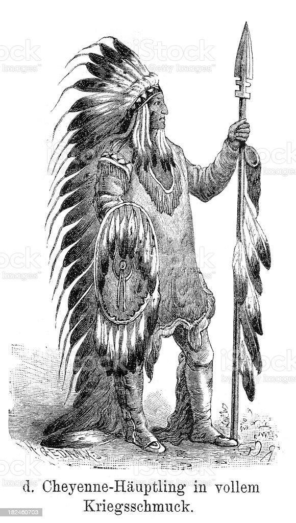 Cheyenne cheif in war costume royalty-free stock vector art