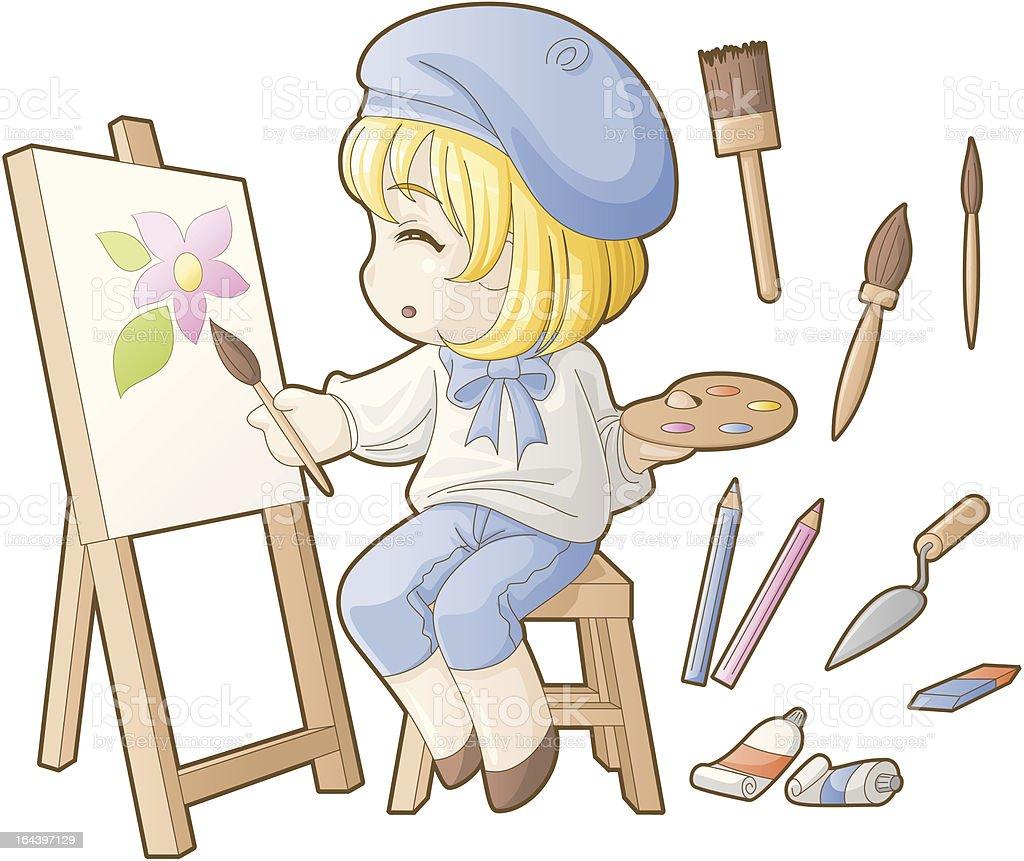 Chibi professions sets: Artist royalty-free stock vector art