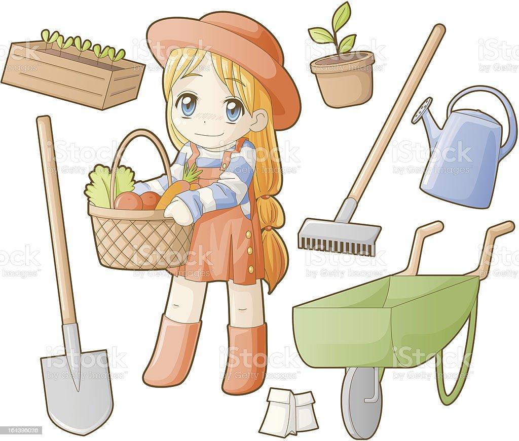 Chibi professions sets: Gardener royalty-free stock vector art