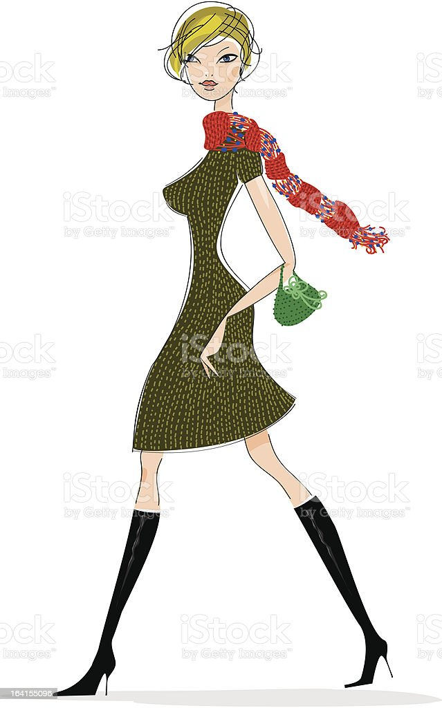 Chic lady in autumn royalty-free stock vector art