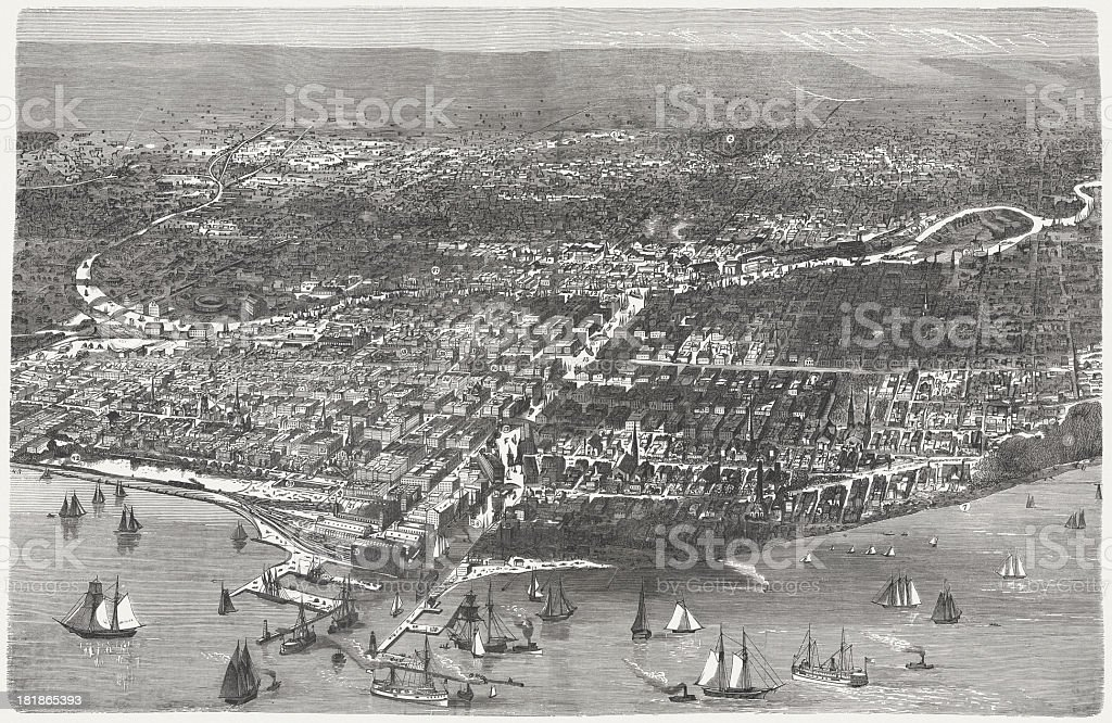 Chicago before the Great City Fire in 1871, published 1872 royalty-free stock vector art
