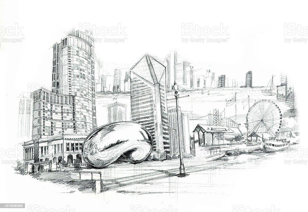 Chicago city illustartion vector art illustration